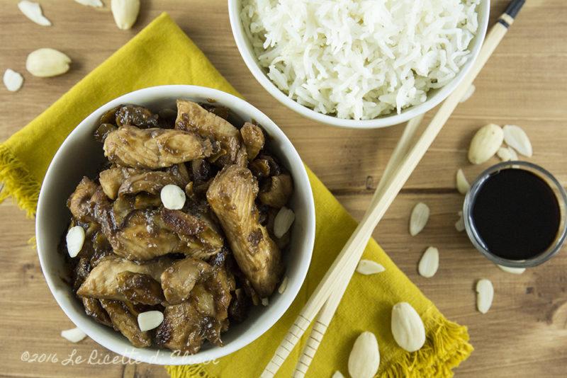 Pollo con le mandorle e salsa di soia