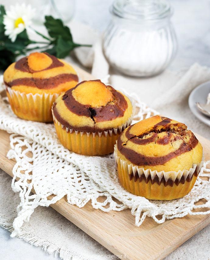 Muffin zebrati bicolore senza burro