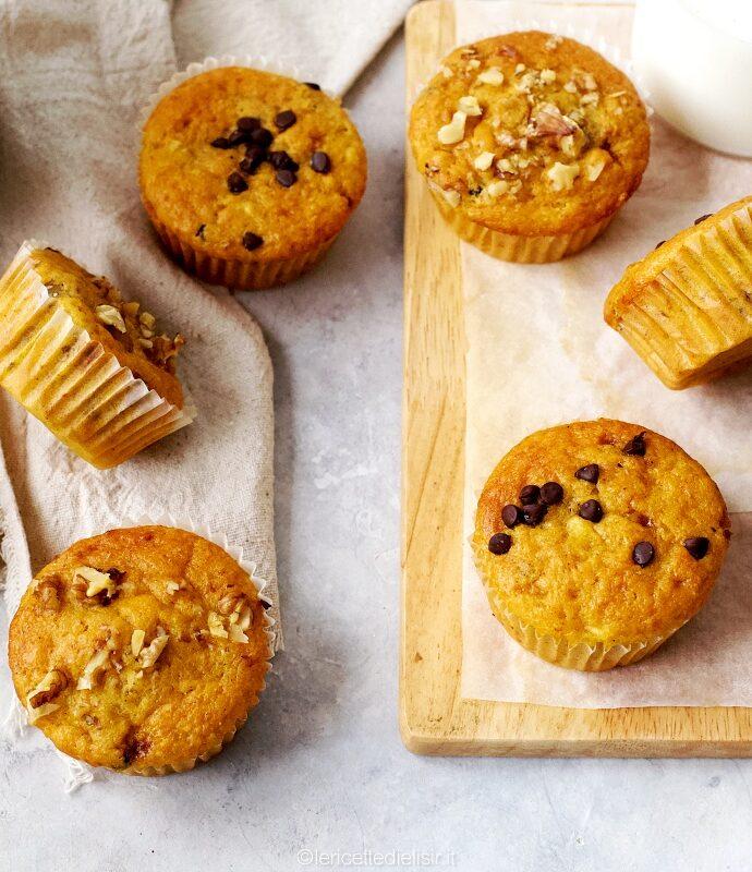Muffin banana noci e cioccolato fondente