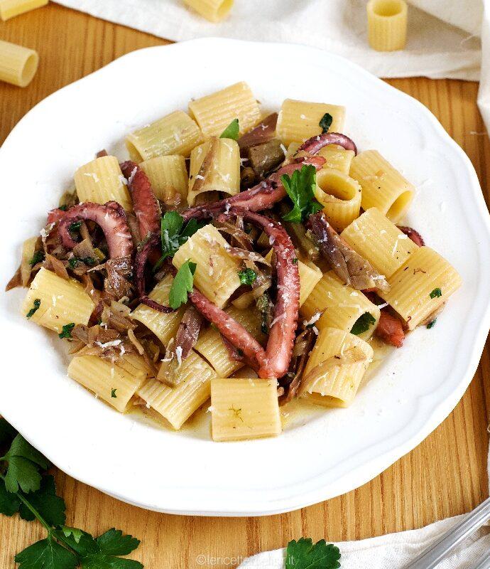 Mezzemaniche polpo e carciofi, primo piatto