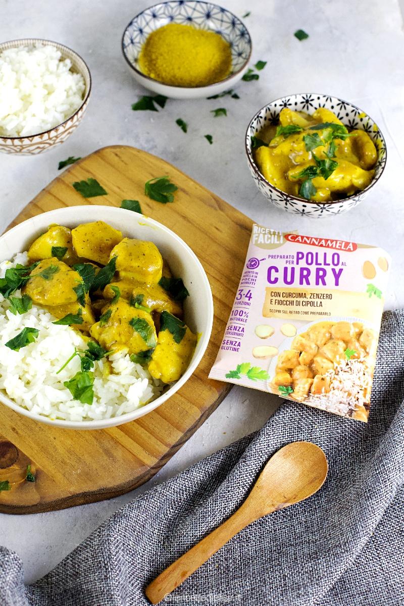 Pollo al curry cremoso e tenero, con riso basmati